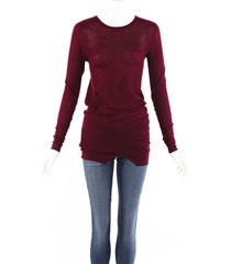 isabel marant red cashmere knit ruched sweater red sz: m
