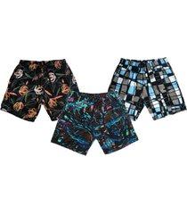kit 3 shorts praia ks estampado microfibra bolsos laterais ref.386 multicolorido