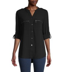 pure navy women's roll-sleeve shirt - black - size xl