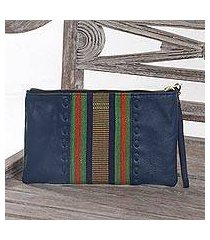 leather and cotton wristlet, 'casual ikat in blue' (indonesia)