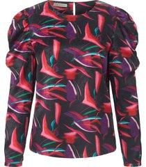 blouse zonder sluiting pofmouwtjes van uta raasch multicolour
