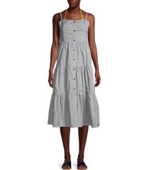 solid and striped women's striped tiered cotton dress - mini stripe - size xs