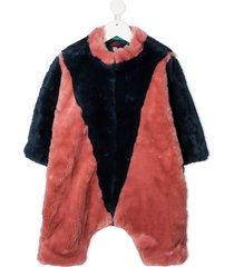 the animals observatory colour-block fur bodysuit - blue