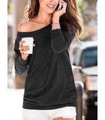elegante camiseta informal de manga larga redonda cuello