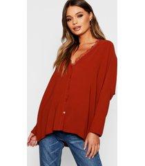 oversized blouse met kanten afwerking, roest