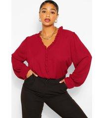plus ruffle collar longsleeve blouse, berry