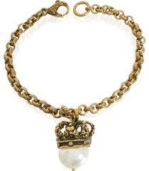 alcozer & j designer bracelets, crown and pearl bracelet