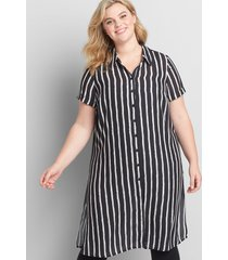 lane bryant women's button-front shirt maxi overpiece 34/36 black and white vertical stripe