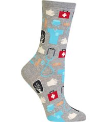 hot sox women's medical-professionals theme crew socks