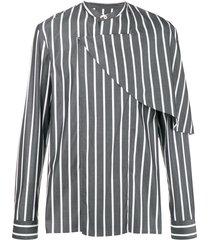 chalayan half cape striped shirt - grey