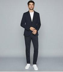 reiss flexo - slim fit jersey-stretch blazer in navy, mens, size 46
