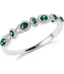 charter club silver-tone pave & green crystal halo bangle bracelet, created for macy's