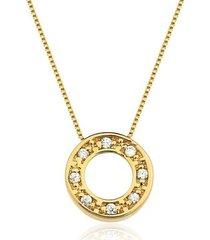 colar toque de joia círculo com zircônias ouro amarelo