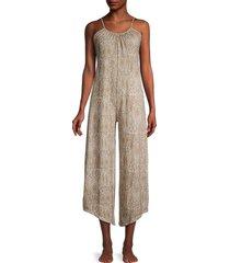 tart women's snake-print cropped jumpsuit - natural - size m