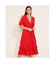 vestido de laise feminino midi em camadas com babado manga bufante vermelho