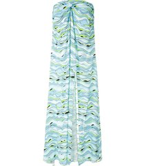 amir slama wave-print strapless dress - blue