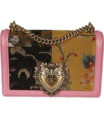 dolce & gabbana heart plaque embellished chain shoulder bag