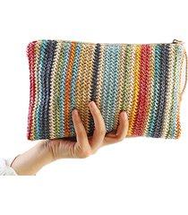2017 women straw clutch bag stripe womens clutches beach handbag bolsa feminina
