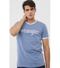 camiseta wrangler logo azul - kanui