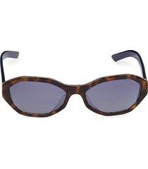 prada women's 56mm geometric sunglasses - blue havana