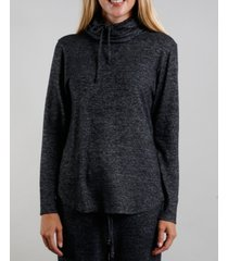 coin 1804 women's cozy built-in mask curved hem pullover