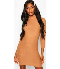 roll neck knitted mini sweater dress, camel