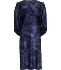 connected plus size metallic-knit draped-cape midi dress