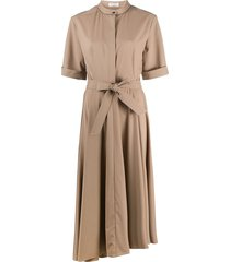 brunello cucinelli belted shirt dress - brown