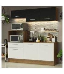 cozinha compacta madesa onix 180001 com armário e balcão rustic/branco/preto cor:rustic/branco/preto