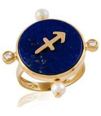 anel astrale sagitario amarelo c/ diamante branco e perola - 17