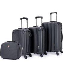 conjunto de malas swissport viagem rígida em abs c/ 3 peças 360º + frasqueira de viagem swissport abs preto