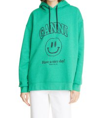 women's ganni software isoli organic cotton graphic hoodie, size large/x-large - green (nordstrom exclusive)