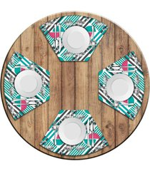 jogo americano love decor para mesa redonda wevans flamingos geométricos kit com 4 pçs