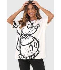 camiseta desigual love mickey off-white