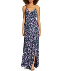 women's wayf the angelina floral print slit wrap gown, size xx-small - purple