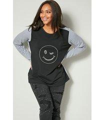 sweatshirt angel of style zwart::lichtgrijs