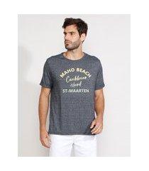 "camiseta masculina manga curta gola careca maho beach"" flocada azul marinho"""