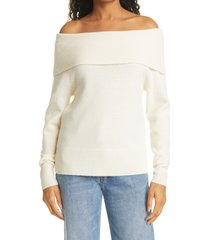 women's paige izabella off the shoulder sweater, size x-large - white