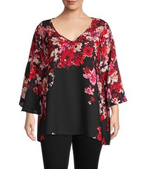 chenault women's plus floral bell-sleeve blouse - black floral - size 2x (18-20)