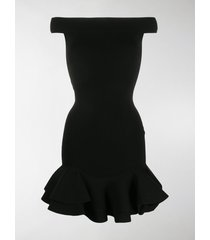 alexander mcqueen off-shoulder ribbed-knit dress