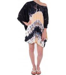 pure-kenya strandjurkje pure kenya batik short dress black peach-one-size