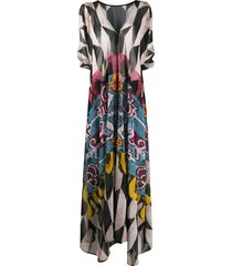 afroditi hera draped multi-pattern maxi dress - neutrals