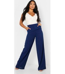lace body insert jumpsuit, navy