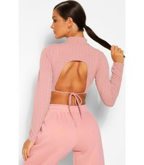 rib knit cut out back detail roll neck top, mauve