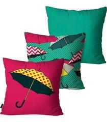 kit pump up com 3 almofadas decorativas verde guarda-chuvas 45x45cm