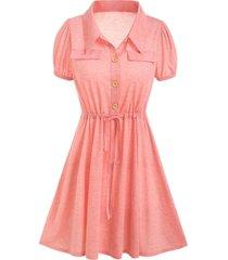 half button toggle drawstring heathered dress