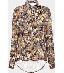 camisa con estampado floral y cuello con cordones
