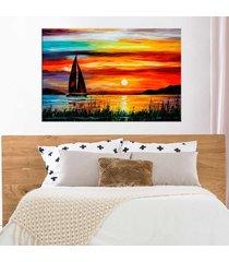 tela decorativa barco a vela com por do sol médio love decor