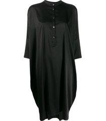 6397 button down shift dress - black