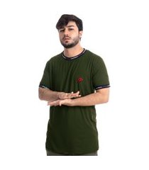 camiseta masculina suede overfame holidays verde musgo